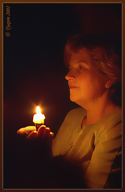 "photo ""Candle-end"" tags: portrait, woman"