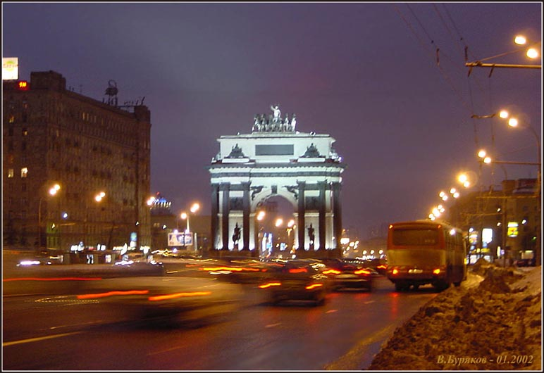 "photo ""Triumphal arch (Moscow)"" tags: architecture, landscape, night"
