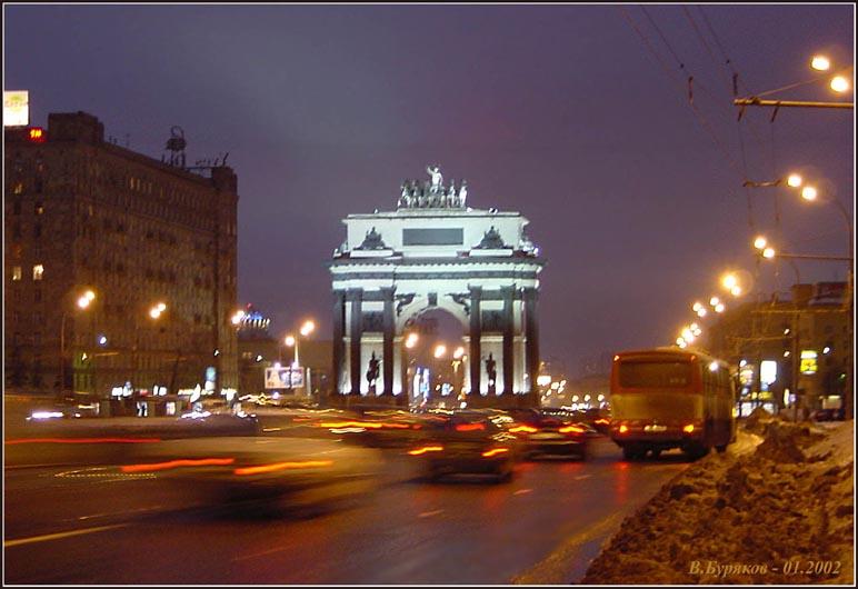 """фото """"Триумфальная арка (Москва)"""" метки: архитектура, пейзаж, ночь"""