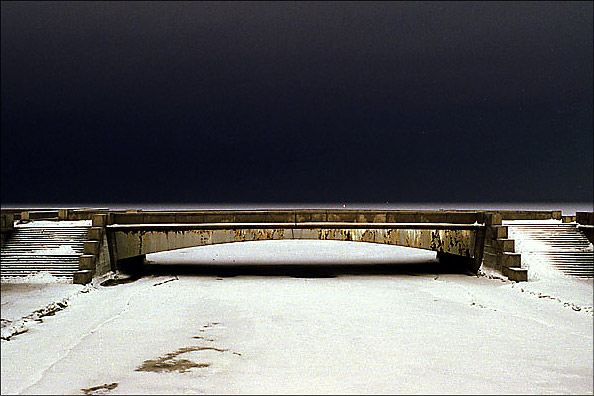 "photo ""Bridge and Horizon"" tags: landscape, architecture, night"