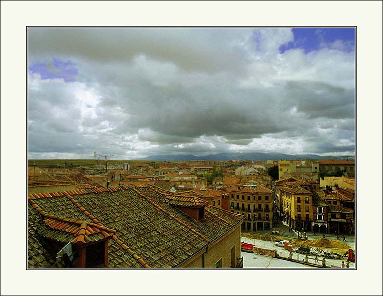 "photo ""Spanish landscape (rooftops)."" tags: architecture, landscape,"