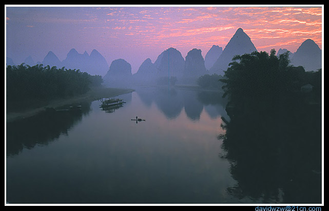 "photo ""The Sunrise Of The Li River 2"" tags: landscape, sunset, water"