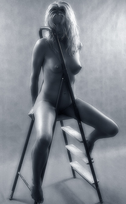 "photo ""On a ladder."" tags: nude,"