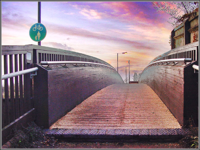 "photo ""A Bridge Too Far?"" tags: montage, landscape, sunset"