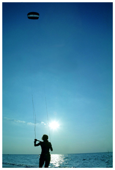 "photo ""Kite at the blue morning"" tags: sport, landscape, water"