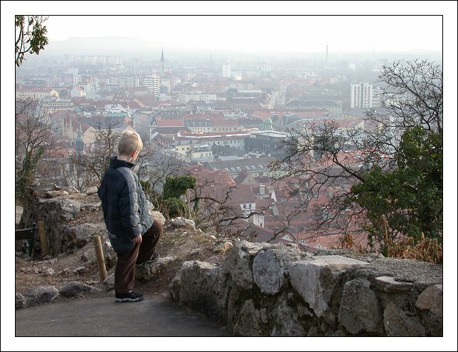"photo ""A Boy Looking at the Roofs of Graz"" tags: architecture, travel, landscape, Europe"