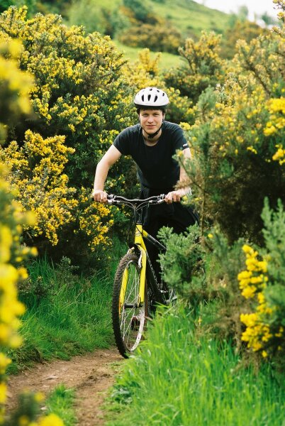 "photo ""Yellow bike in yellow bushes"" tags: portrait, landscape, forest, man"