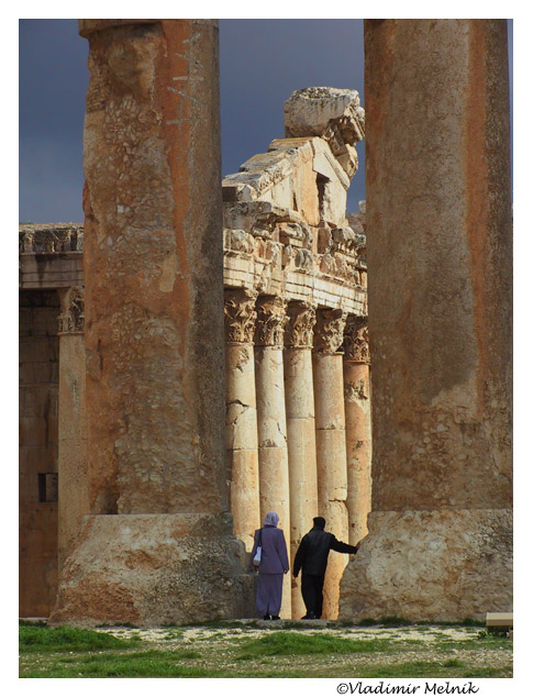 "photo ""Couple in Baalbek..."" tags: travel, architecture, landscape, Asia"