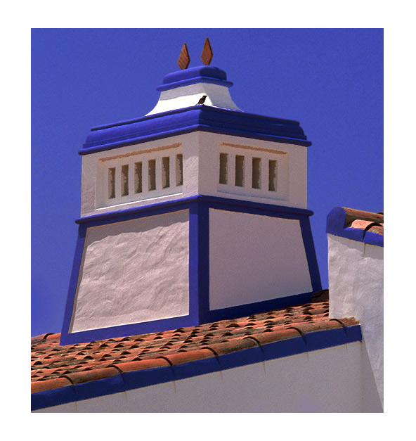"""photo """"Chimney with small bird"""" tags: architecture, abstract, landscape,"""