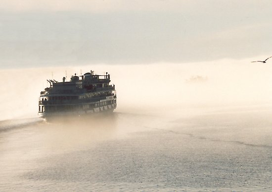 "photo ""boat and fog"" tags: landscape, clouds, water"