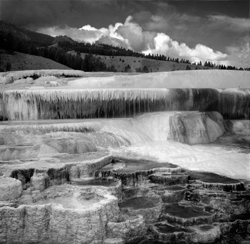 "photo ""Mammoth falls,Yellowstone national Park, USA"" tags: travel, landscape, North America, summer"