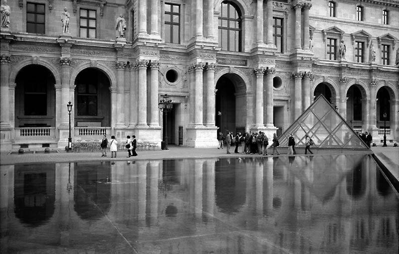 "photo ""Louvre Courtyard with Reflections"" tags: architecture, travel, landscape, Europe"