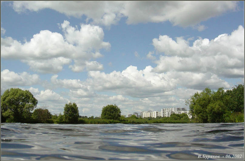 "photo ""Sight on Strogino from the Moscow - river"" tags: landscape, summer, water"