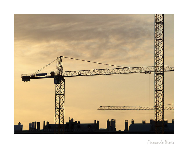 "photo ""In construction"" tags: architecture, landscape, sunset"