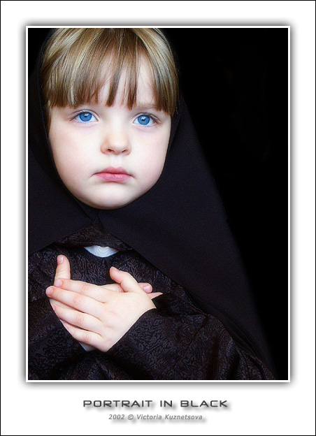 "photo ""Portrait in black"" tags: portrait, genre, children"