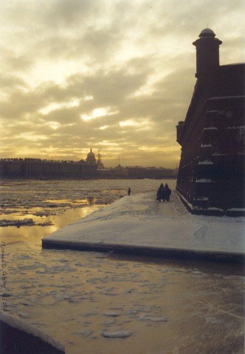 "photo ""Black Neva"" tags: landscape, sunset, winter"