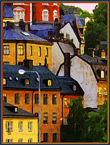 """фото """"Июльский вечер в Стокгольме"""" метки: фотомонтаж, пейзаж, закат"""