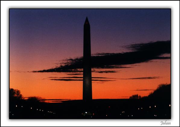 "фото ""Sun set beaind the washington monument"" метки: пейзаж, путешествия, Северная Америка, закат"