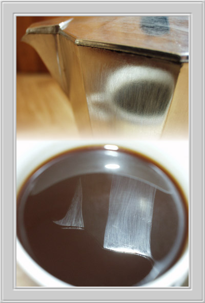 "photo ""Coffee, in it cofeepot is, in it cup is, inside it"" tags: still life, abstract,"
