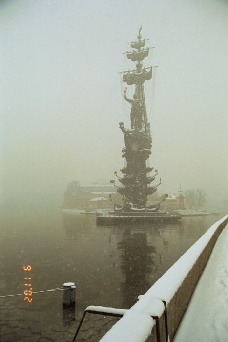"""фото """"Снегопад в Москве"""" метки: архитектура, пейзаж, вода"""