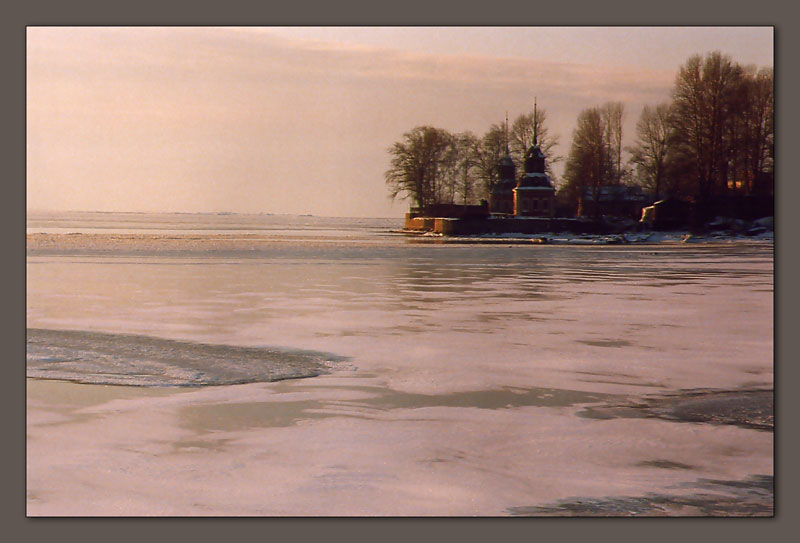 "photo ""The winter"" tags: landscape, sunset, water"