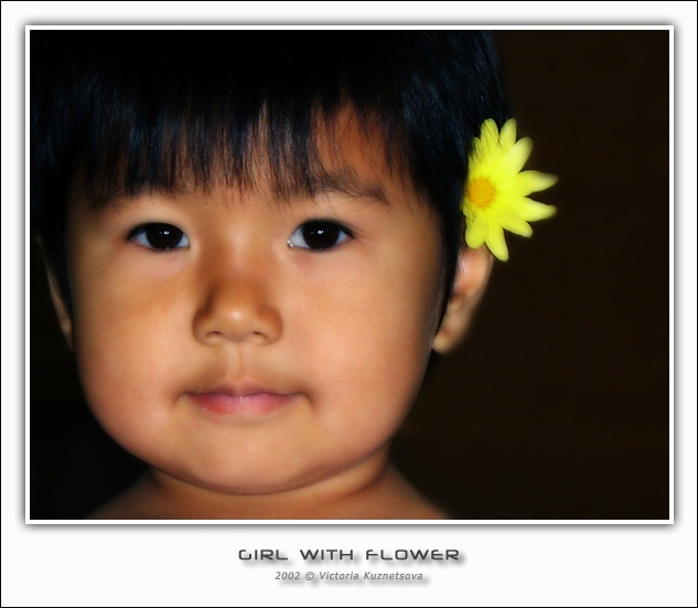 "photo ""A girl with a flower"" tags: portrait, children"