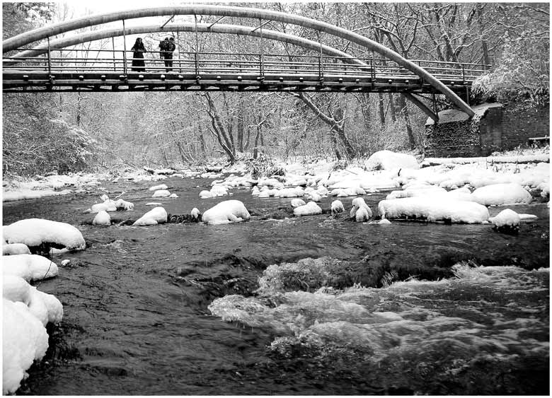 "photo ""Snow walk on the bridge"" tags: landscape, water, winter"