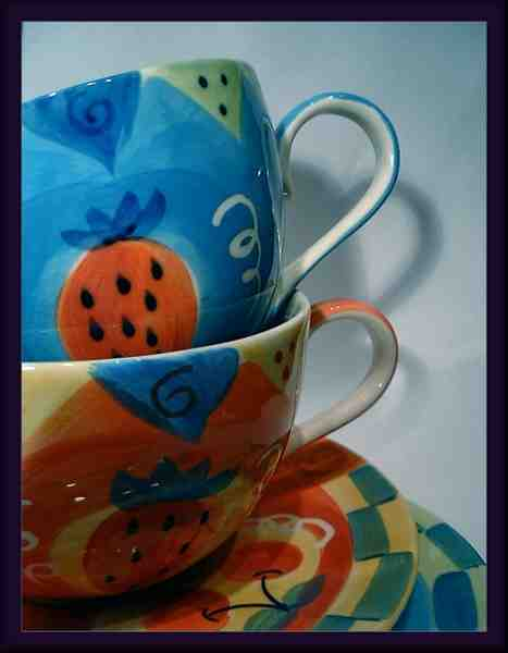 """photo """"Cups and Blues"""" tags: still life, misc.,"""