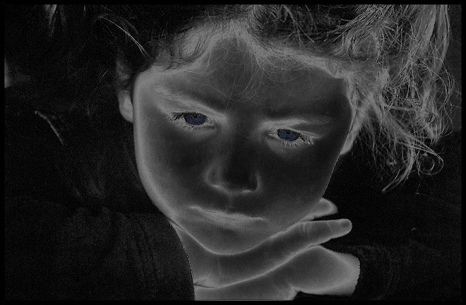 "photo ""Thoughts (solarize version)"" tags: portrait, children"