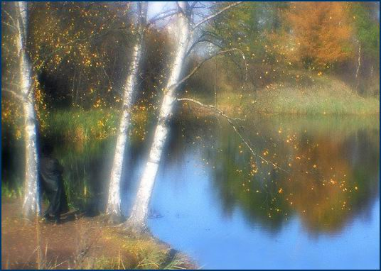 "photo ""Birches at a pond"" tags: landscape, autumn"