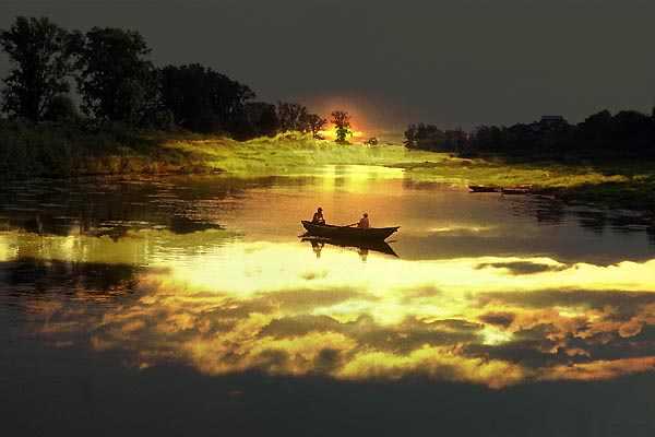 "photo ""Boat in sunset"" tags: montage, landscape, sunset"