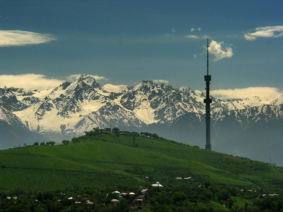 "photo ""TV-tower Almaty City"" tags: landscape, architecture, mountains"