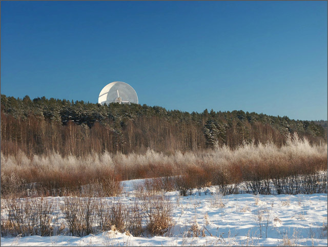 "photo ""Landscape with a radiotelescope:)))"" tags: landscape, winter"