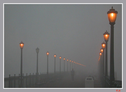 "photo ""One is off in the pier in a foggy early morning"" tags: landscape,"