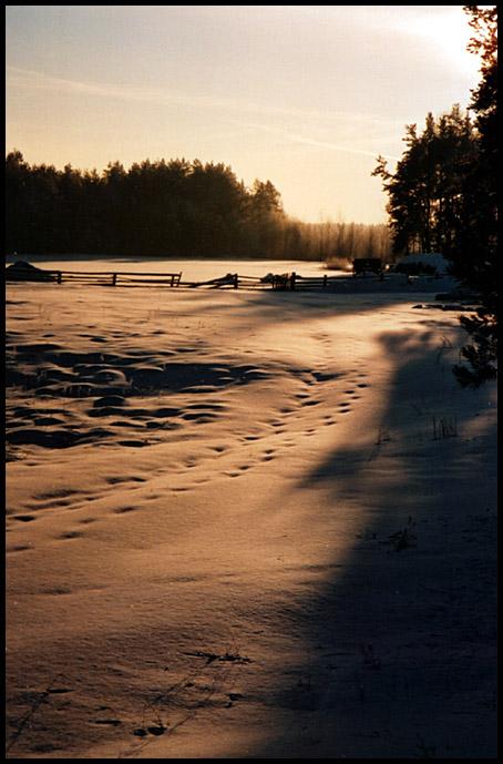 """фото """"За околицей"""" метки: пейзаж, закат, зима"""