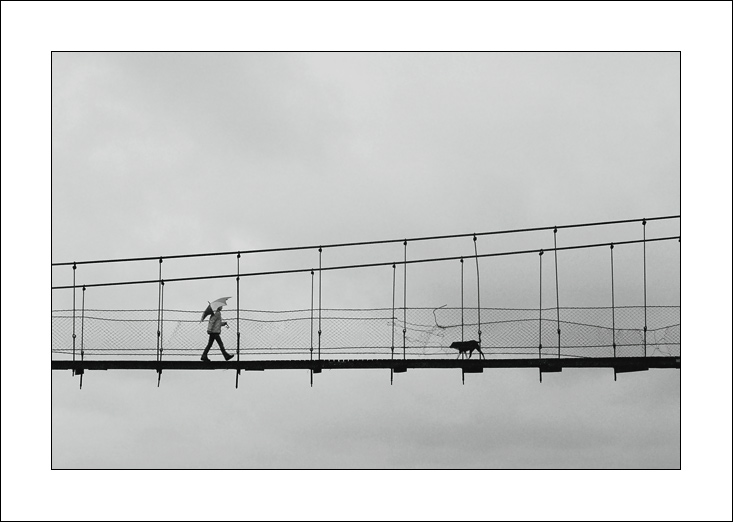 "photo ""Bridge, girl and old dog"" tags: genre,"