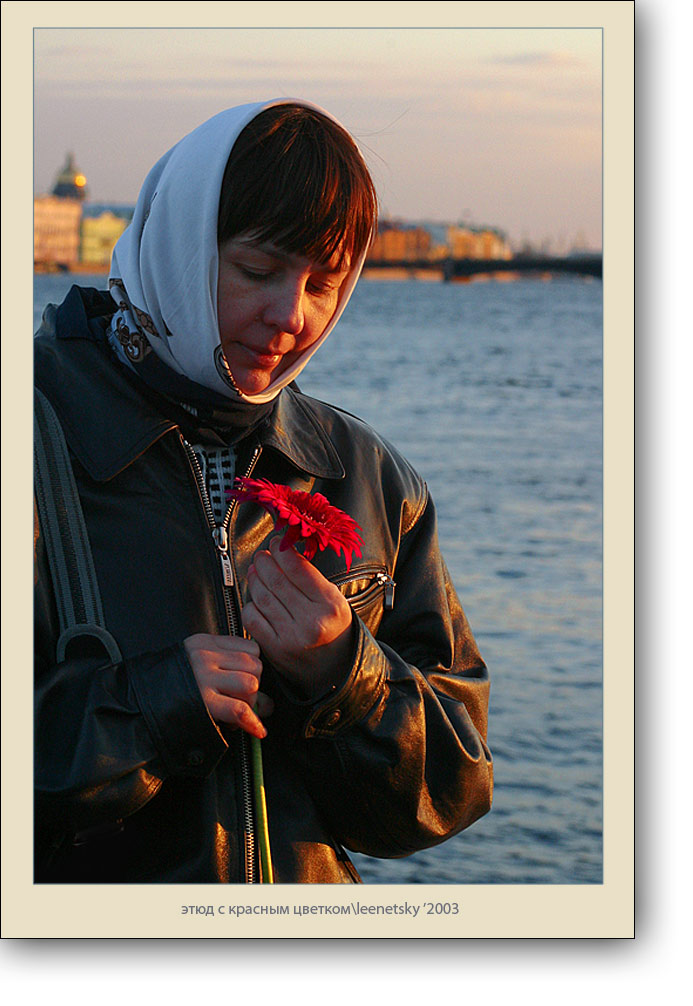 "photo ""Red flower etude"" tags: portrait, woman"