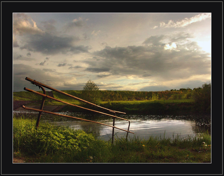 "photo ""Good fishing dock"" tags: landscape, clouds, water"