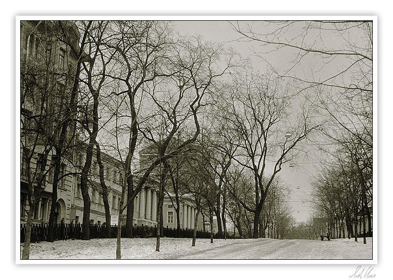 "photo ""Rozhdestvenskiy boulevard"" tags: architecture, black&white, landscape,"