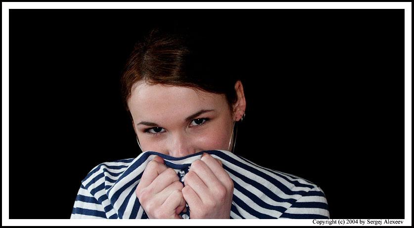 "photo ""Striped"" tags: portrait, montage, woman"
