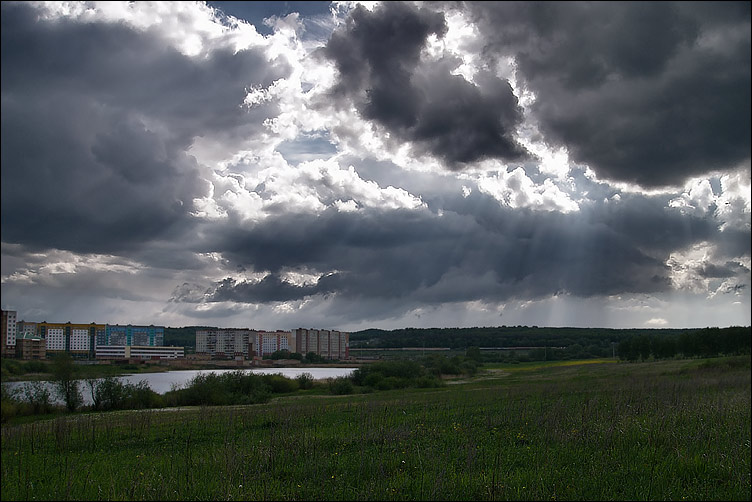 "photo ""About city, glade and clouds."" tags: landscape, clouds, spring"