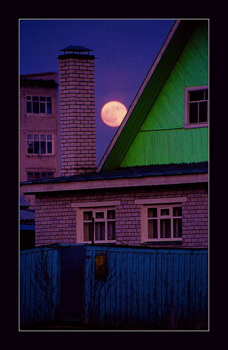 "photo ""Night. Moon. And green roof."" tags: architecture, landscape, night"