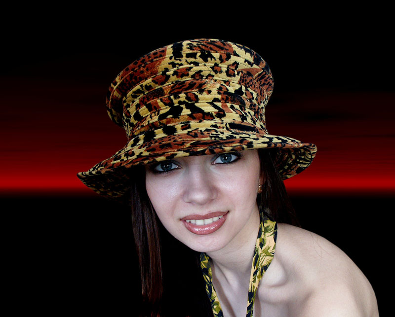 "photo ""In a yellow hat"" tags: portrait, montage, woman"