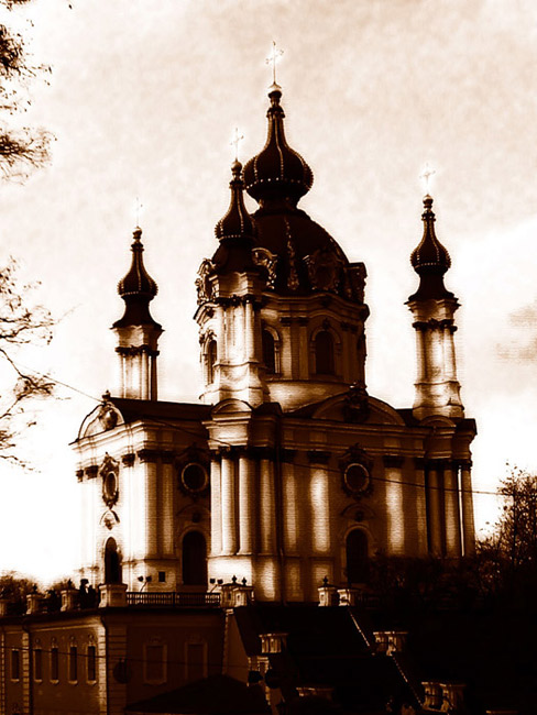 "photo ""Andreevskaja church"" tags: old-time, montage,"