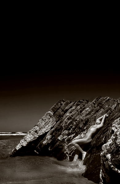"photo ""on the rocks"" tags: nude, black&white,"