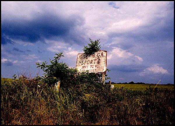 "photo ""1970`s sign , still there for a while longer"" tags: old-time, landscape, summer"