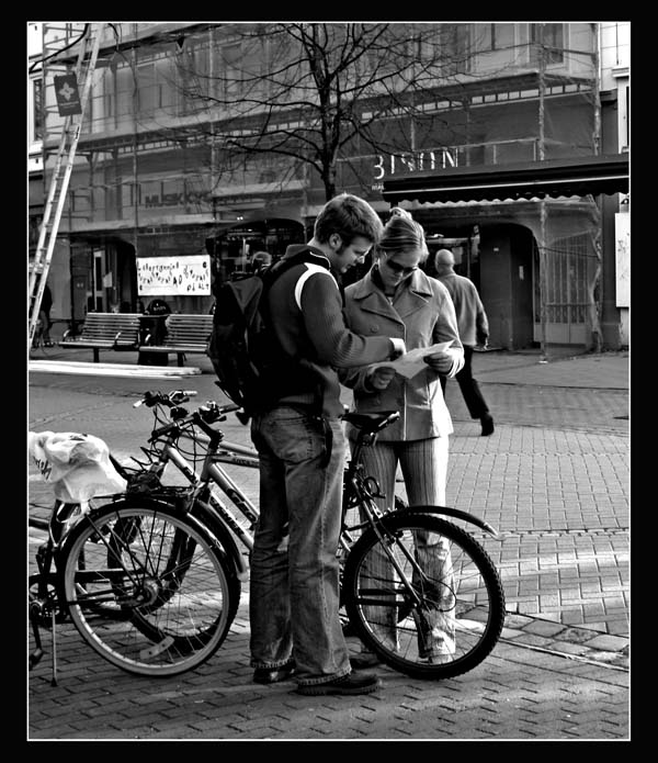 "photo ""Students in Trondheim"" tags: black&white,"