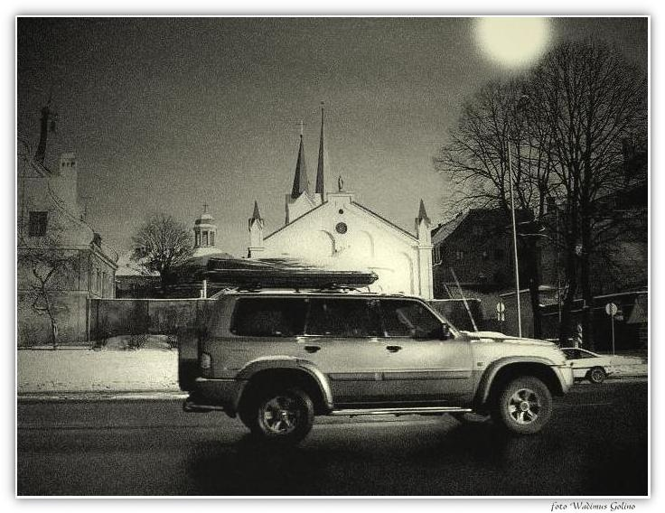 "photo ""Church,night,the moon and jeep."" tags: landscape, genre, night"