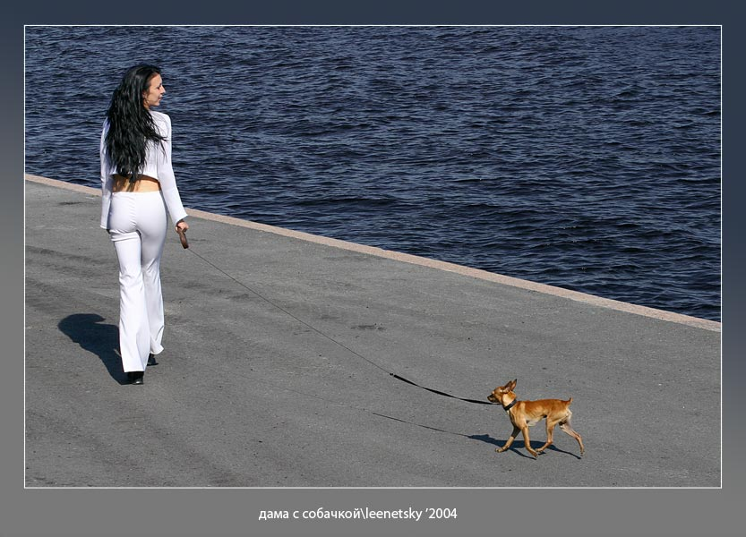 "photo ""Lady with doggie"" tags: genre,"