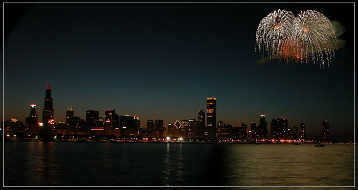 "photo ""Fireworks in Chicago downtown"" tags: architecture, landscape,"